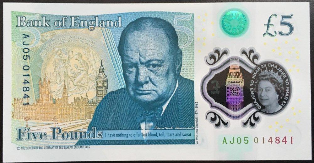 England 5 Pounds 2016 Unc